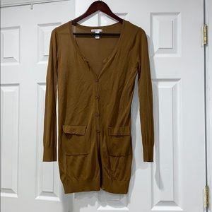 Mango Basics Womens Brown Mustard Long Cardigan